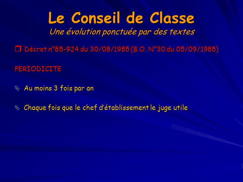 Le Conseil de Classe Une évolution ponctuée par des textes Circulaire n°93-087 du 21/01/1993 (B.O.