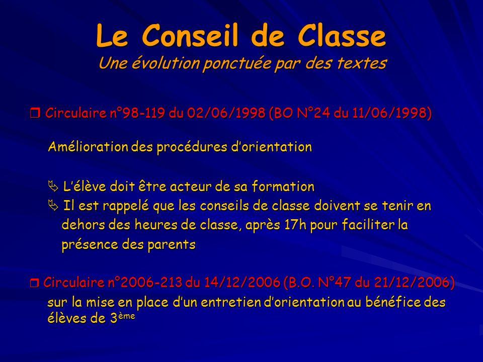Le Conseil de Classe Une évolution ponctuée par des textes Circulaire n°98-119 du 02/06/1998 (BO N°24 du 11/06/1998) Circulaire n°98-119 du 02/06/1998