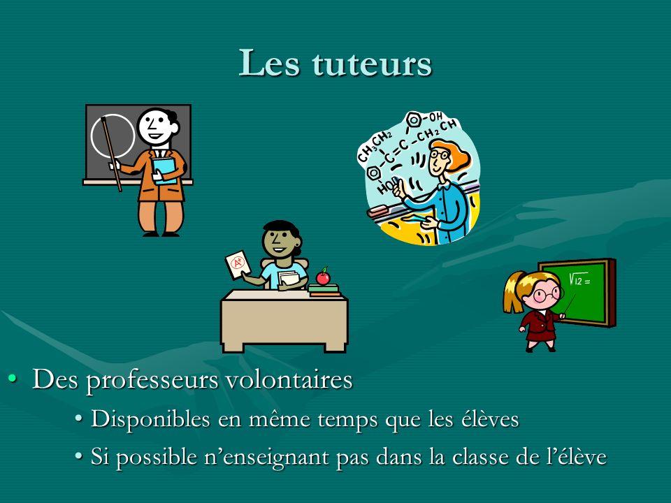 Les tuteurs Des professeurs volontaires Disponibles en même temps que les élèves Si possible nenseignant pas dans la classe de lélève