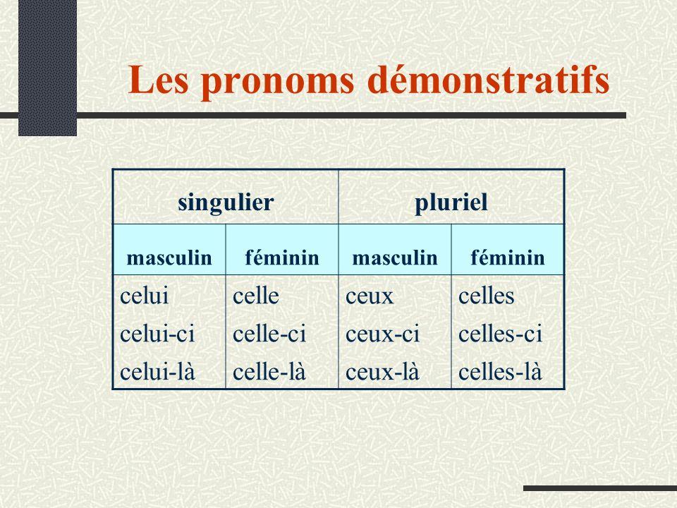 Les pronoms démonstratifs singulierpluriel masculinfémininmasculinféminin celui celui-ci celui-là celle celle-ci celle-là ceux ceux-ci ceux-là celles celles-ci celles-là