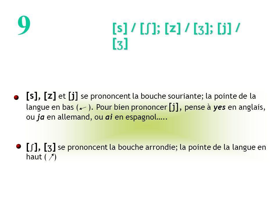9 [s] / []; [z] / [ ʒ ]; [j] / [ ʒ ] [s], [z] et [j] se prononcent la bouche souriante; la pointe de la langue en bas ( ).