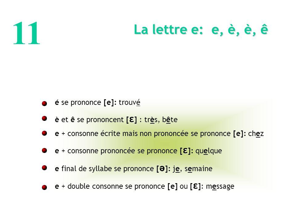 11 é se prononce [e]: trouvé ε è et ê se prononcent [ ε ] : très, bête e + consonne écrite mais non prononcée se prononce [e]: chez ε e + consonne prononcée se prononce [ ε ]: quelque e final de syllabe se prononce [ ə ]: je, semaine ε e + double consonne se prononce [e] ou [ ε ]: message La lettre e: e, è, è, ê