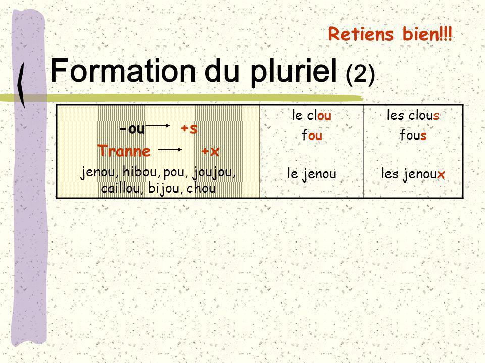 Retiens bien!!! Formation du pluriel (2) -ou +s Tranne +x jenou, hibou, pou, joujou, caillou, bijou, chou le clou fou le jenou les clous fous les jeno