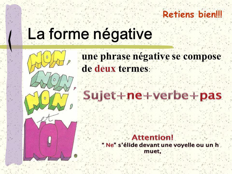 Retiens bien!!! La forme négative une phrase négative se compose de deux termes :