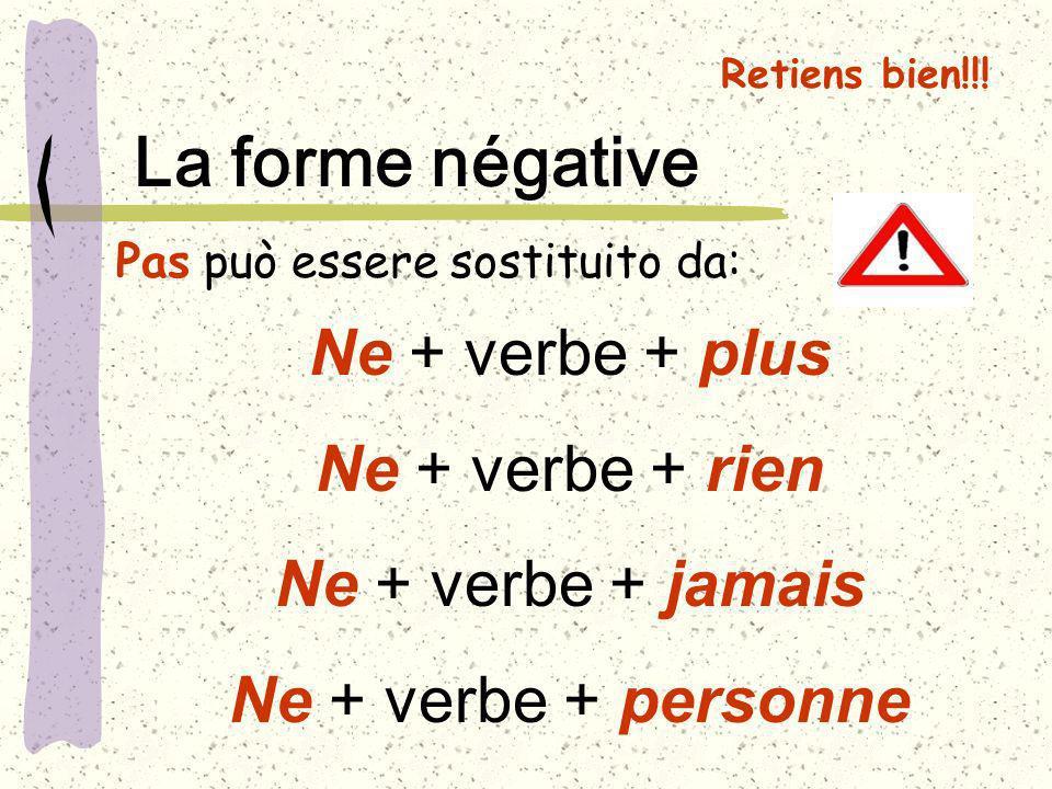 Ne + verbe + plus Ne + verbe + rien Ne + verbe + jamais Ne + verbe + personne Pas può essere sostituito da: Retiens bien!!! La forme négative