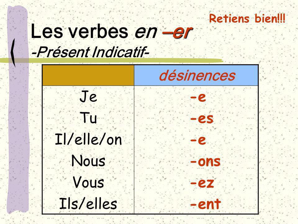 Retiens bien!!! –er Les verbes en –er -Présent Indicatif- désinences Je Tu Il/elle/on Nous Vous Ils/elles -e -es -e -ons -ez -ent