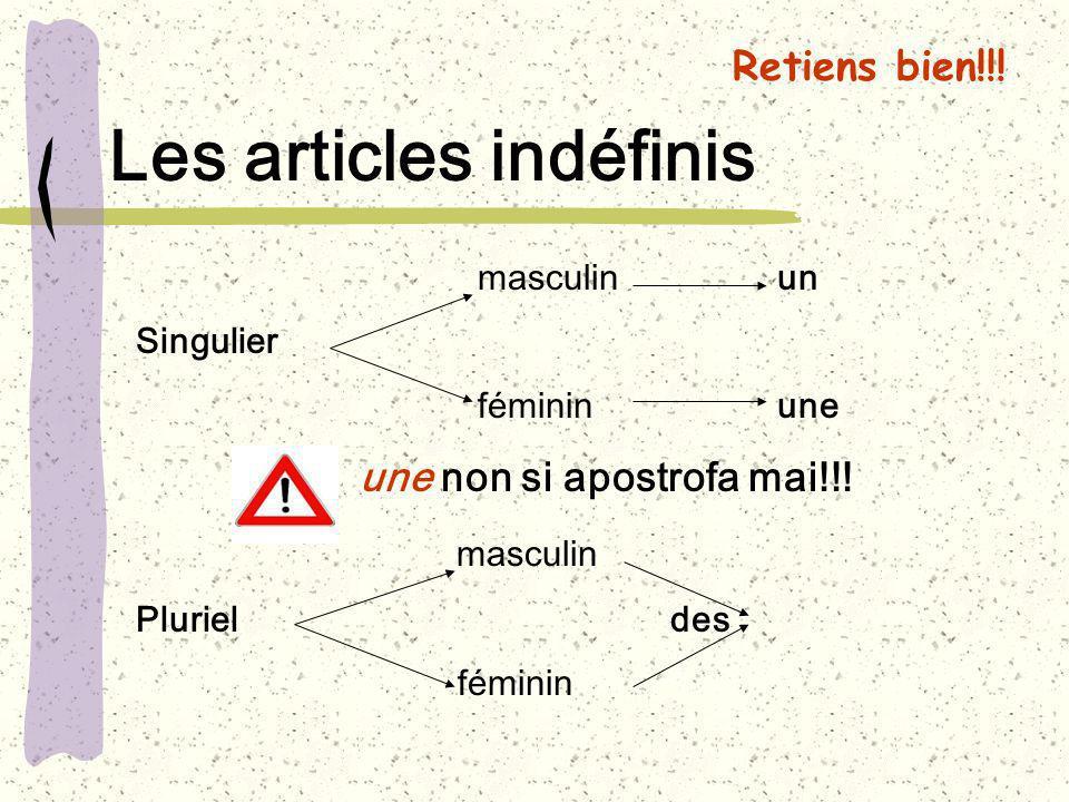 Les articles indéfinis masculinun Singulier fémininune une non si apostrofa mai!!! masculin Plurieldes féminin Retiens bien!!!