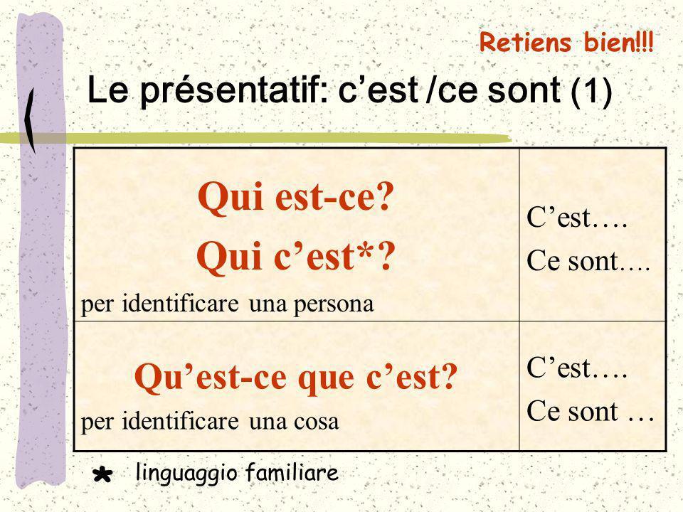 Retiens bien!!! Le présentatif: cest /ce sont (1) Qui est-ce? Qui cest*? per identificare una persona Cest…. Ce sont …. Quest-ce que cest? per identif