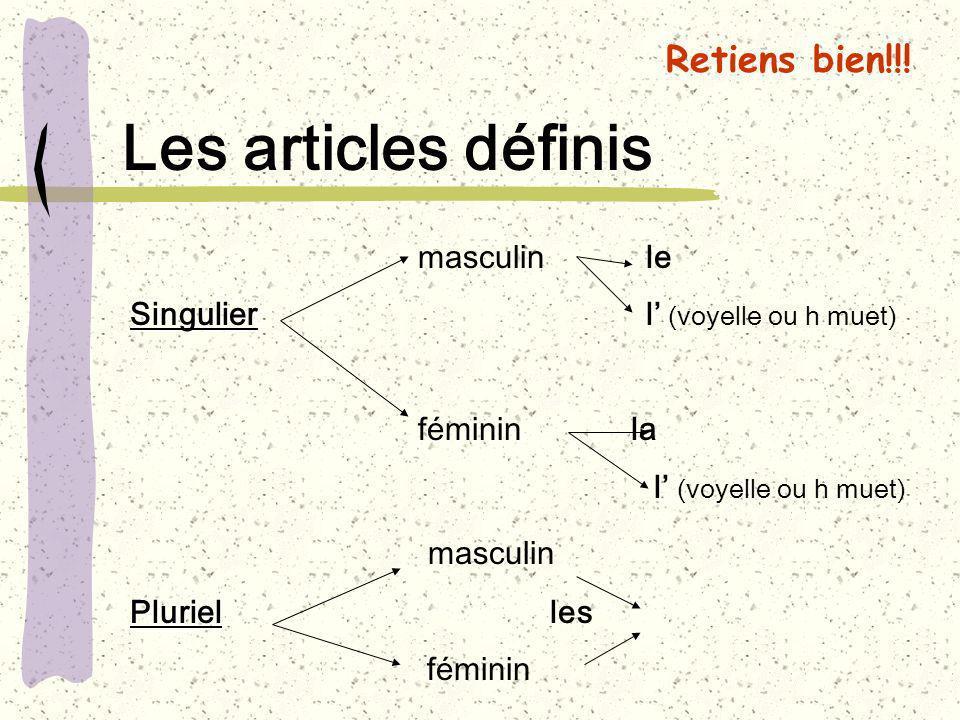 Les articles définis masculin le Singulier Singulier l (voyelle ou h muet) féminin la l (voyelle ou h muet) masculin Pluriel Pluriel les féminin Retie