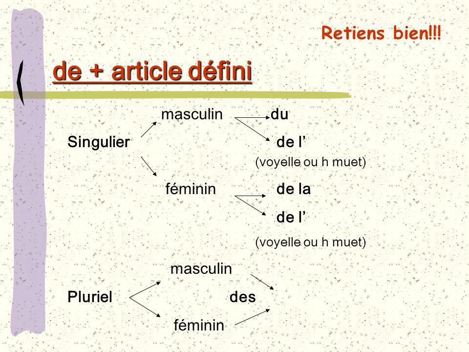de + article défini masculin du Singulier de l (voyelle ou h muet) féminin de la de l (voyelle ou h muet) masculin Pluriel des féminin Retiens bien!!!