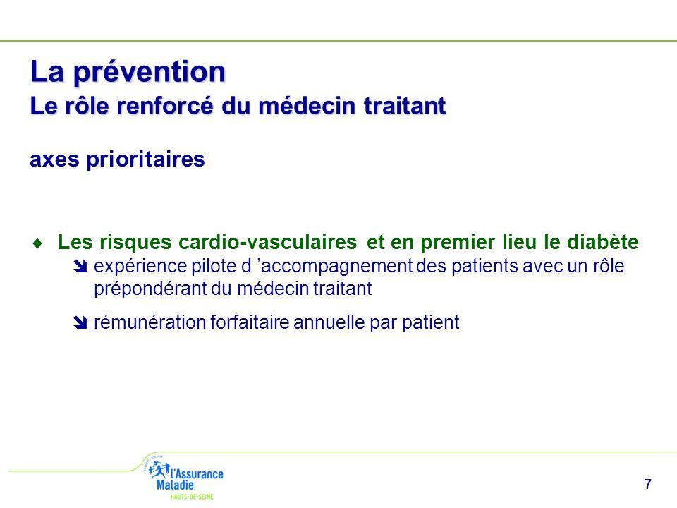 7 La prévention Le rôle renforcé du médecin traitant axes prioritaires Les risques cardio-vasculaires et en premier lieu le diabète expérience pilote