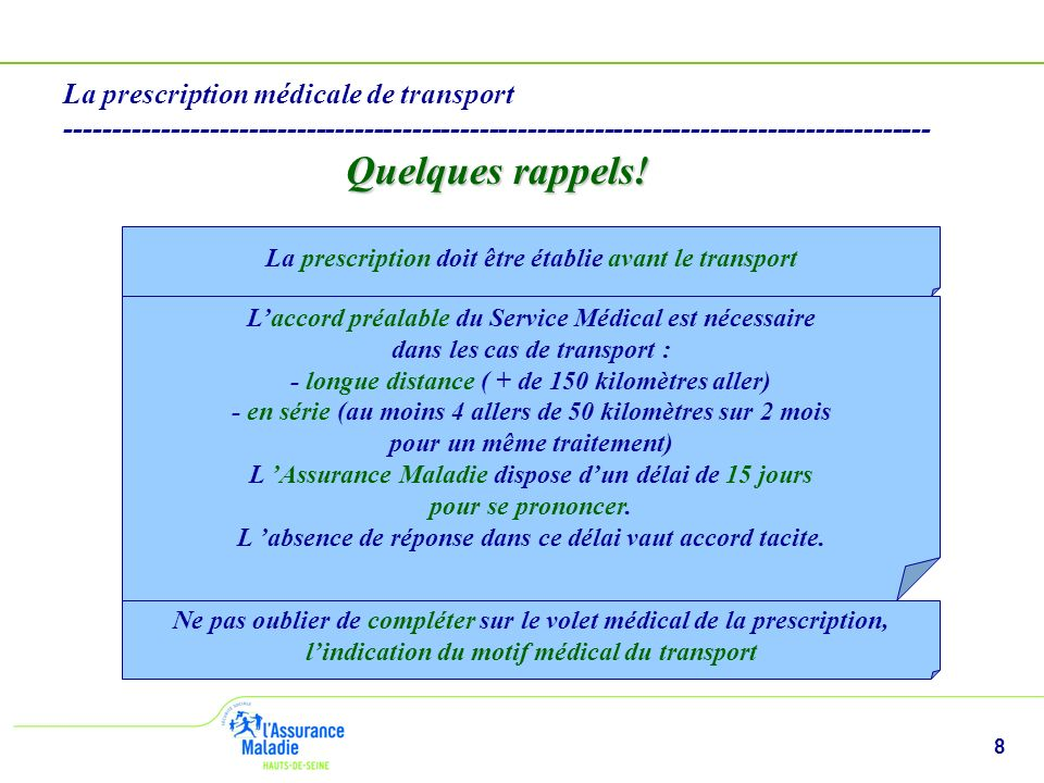 8 La prescription médicale de transport ------------------------------------------------------------------------------------------ Quelques rappels.