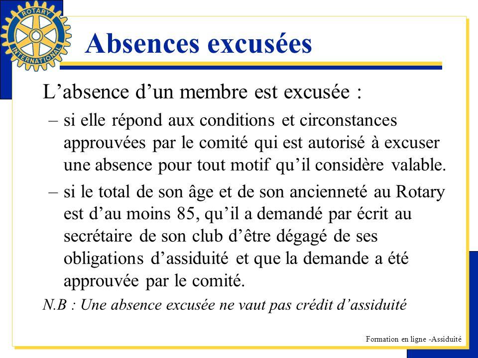 Formation en ligne -Assiduité Absences excusées Labsence dun membre est excusée : –si elle répond aux conditions et circonstances approuvées par le co
