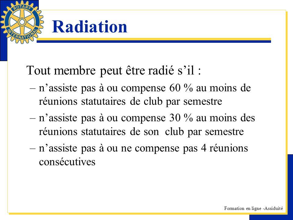 Formation en ligne -Assiduité Radiation Tout membre peut être radié sil : –nassiste pas à ou compense 60 % au moins de réunions statutaires de club pa