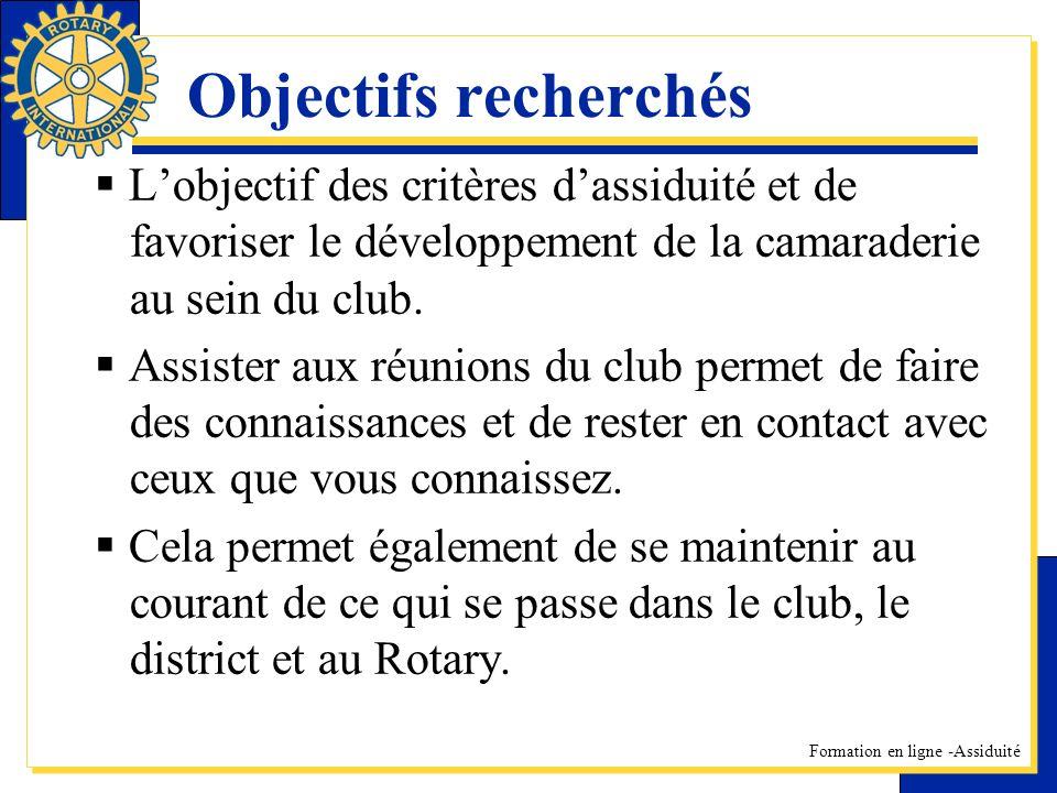 Formation en ligne -Assiduité Objectifs recherchés Lobjectif des critères dassiduité et de favoriser le développement de la camaraderie au sein du clu