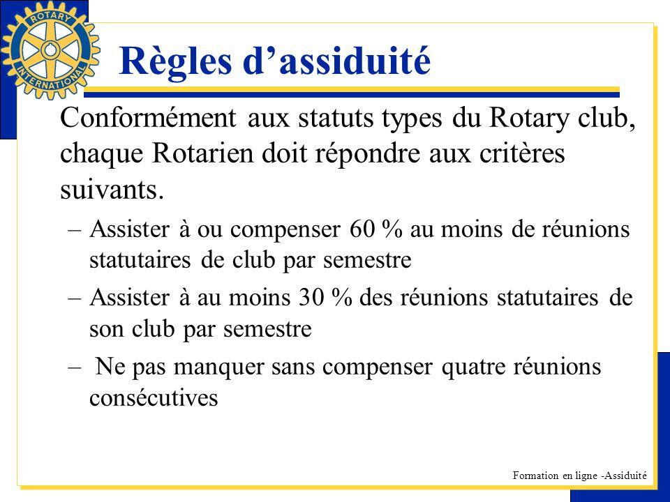Formation en ligne -Assiduité Règles dassiduité Conformément aux statuts types du Rotary club, chaque Rotarien doit répondre aux critères suivants. –A