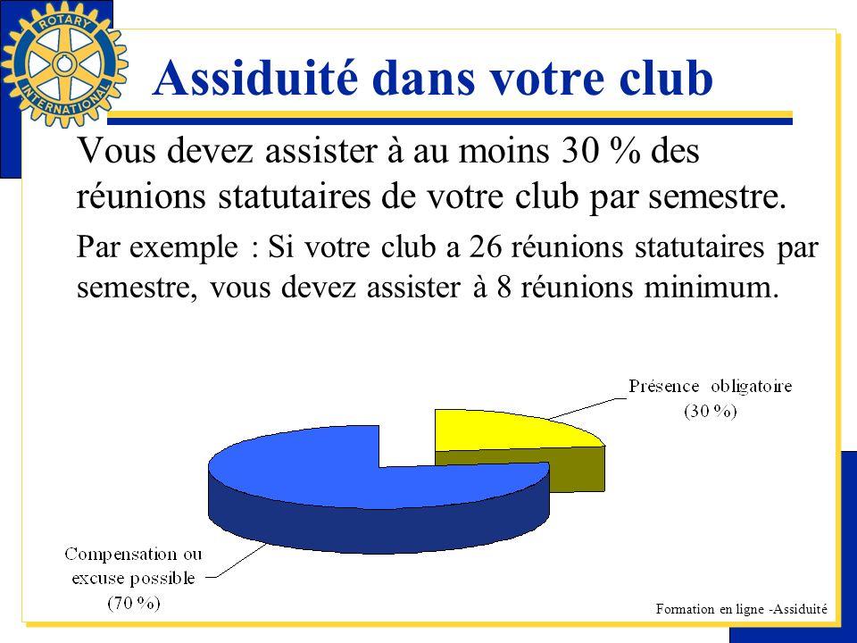 Formation en ligne -Assiduité Assiduité dans votre club Vous devez assister à au moins 30 % des réunions statutaires de votre club par semestre. Par e