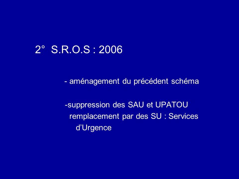 2° S.R.O.S : 2006 - aménagement du précédent schéma -suppression des SAU et UPATOU remplacement par des SU : Services dUrgence