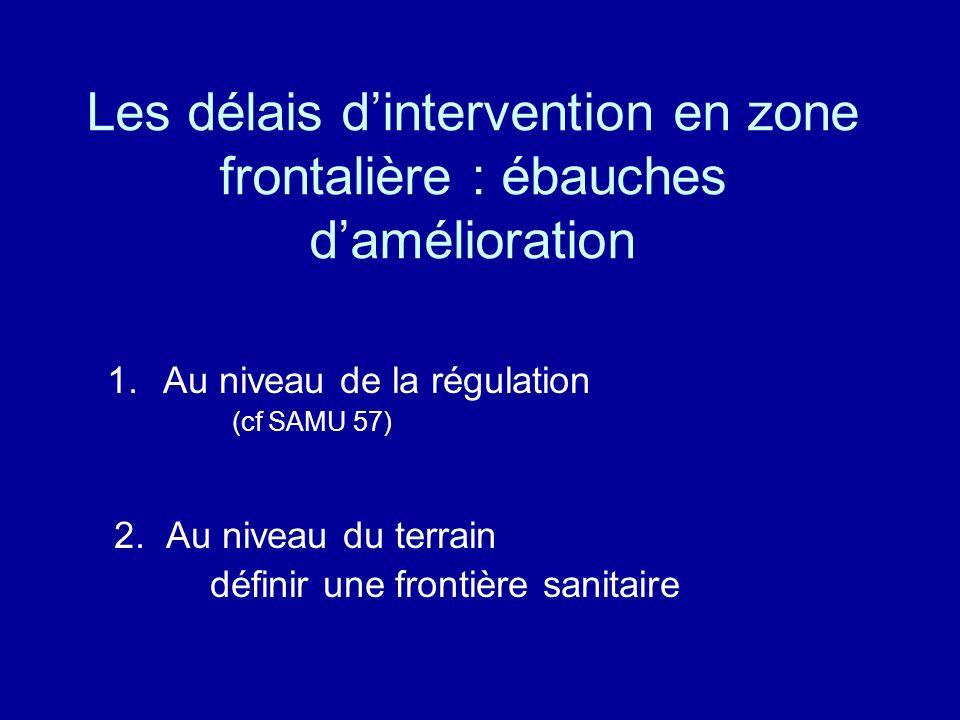 Les délais dintervention en zone frontalière : ébauches damélioration 1.Au niveau de la régulation (cf SAMU 57) 2.