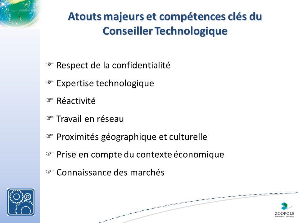Atouts majeurs et compétences clés du Conseiller Technologique Respect de la confidentialité Expertise technologique Réactivité Travail en réseau Proximités géographique et culturelle Prise en compte du contexte économique Connaissance des marchés