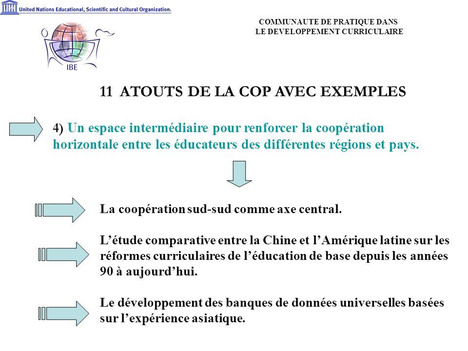 11 ATOUTS DE LA COP AVEC EXEMPLES 4) Un espace intermédiaire pour renforcer la coopération horizontale entre les éducateurs des différentes régions et pays.
