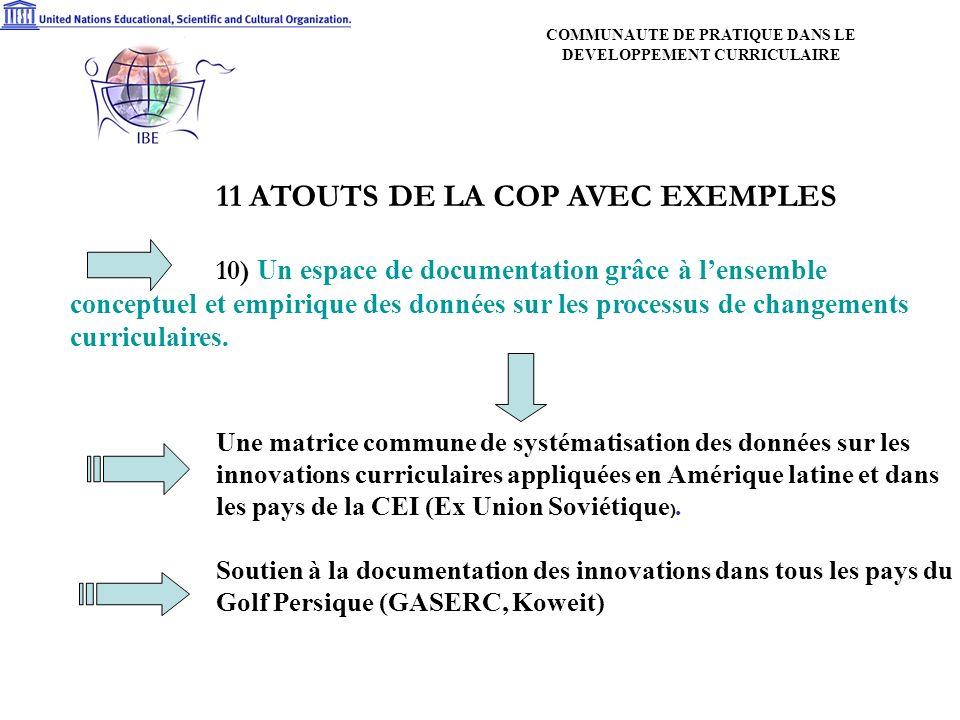 11 ATOUTS DE LA COP AVEC EXEMPLES 10) Un espace de documentation grâce à lensemble conceptuel et empirique des données sur les processus de changements curriculaires.