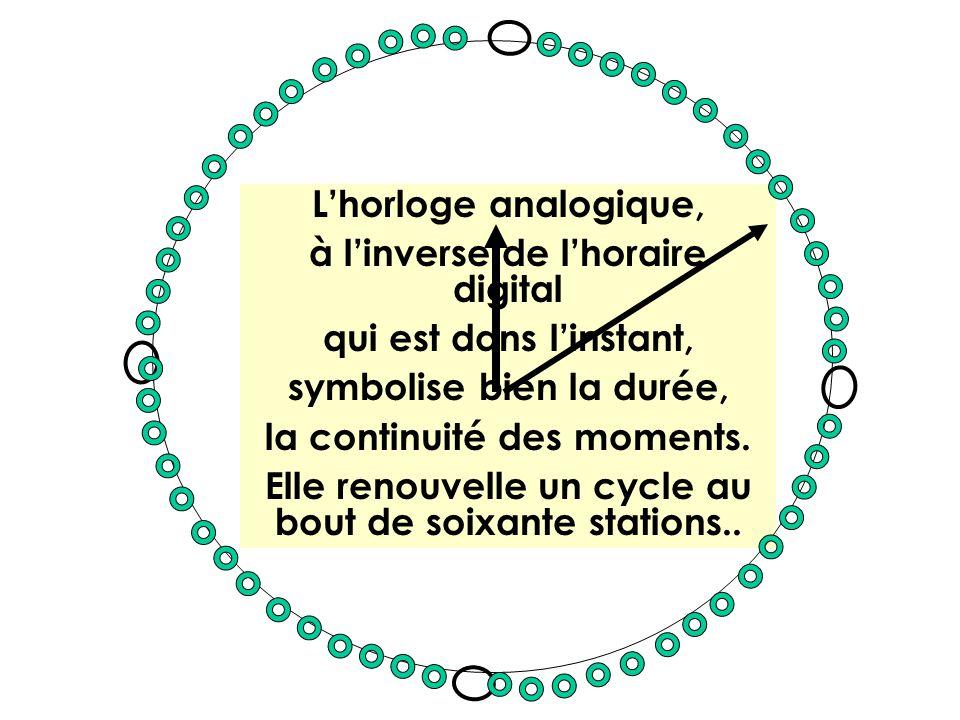 Lhorloge analogique, à linverse de lhoraire digital qui est dans linstant, symbolise bien la durée, la continuité des moments. Elle renouvelle un cycl
