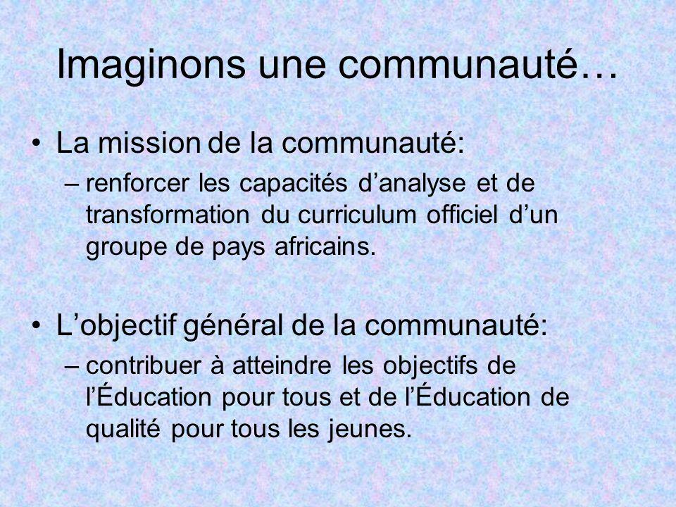 La mission de la communauté: –renforcer les capacités danalyse et de transformation du curriculum officiel dun groupe de pays africains. Lobjectif gén