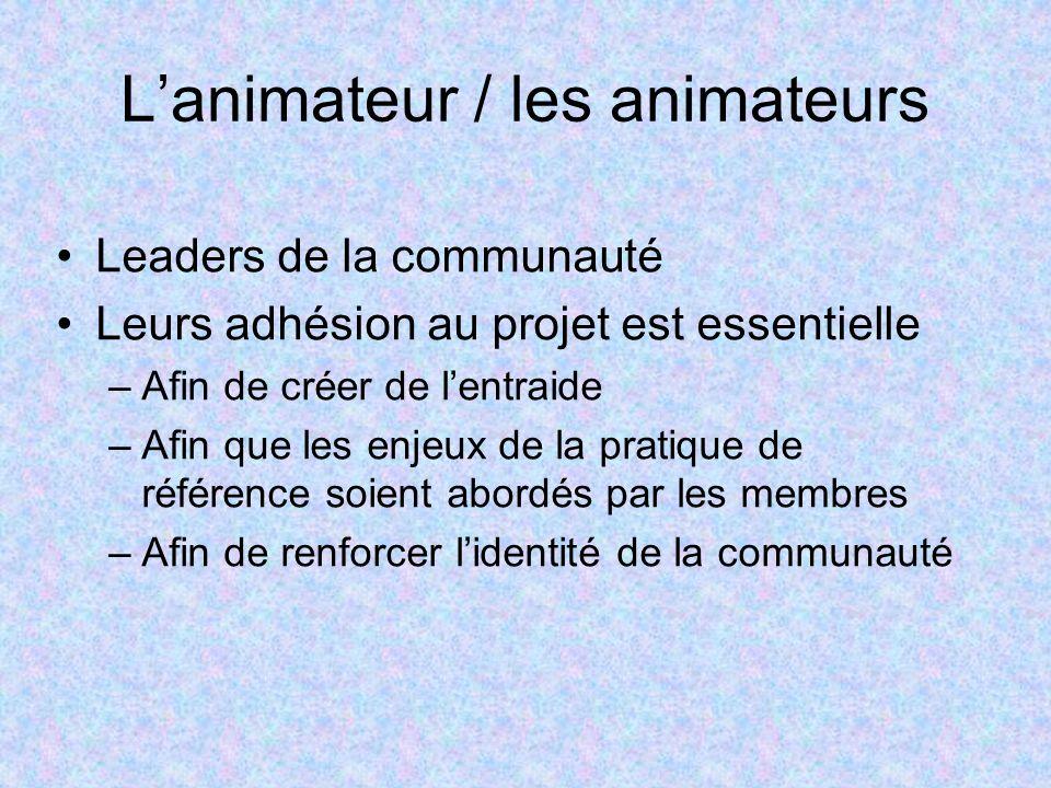 Lanimateur / les animateurs Leaders de la communauté Leurs adhésion au projet est essentielle –Afin de créer de lentraide –Afin que les enjeux de la pratique de référence soient abordés par les membres –Afin de renforcer lidentité de la communauté