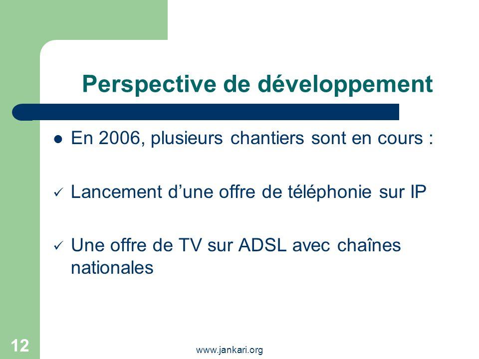 www.jankari.org 12 Perspective de développement En 2006, plusieurs chantiers sont en cours : Lancement dune offre de téléphonie sur IP Une offre de TV