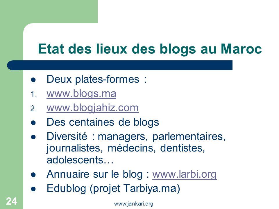 www.jankari.org 24 Etat des lieux des blogs au Maroc Deux plates-formes : 1. www.blogs.ma www.blogs.ma 2. www.blogjahiz.com www.blogjahiz.com Des cent