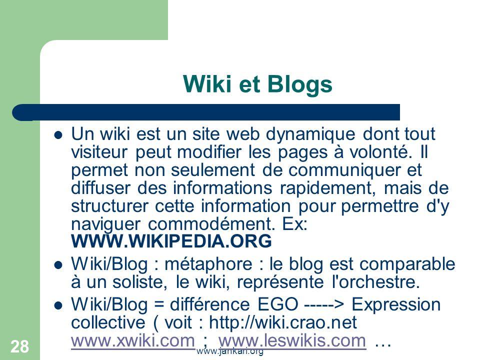 www.jankari.org 28 Wiki et Blogs Un wiki est un site web dynamique dont tout visiteur peut modifier les pages à volonté. Il permet non seulement de co
