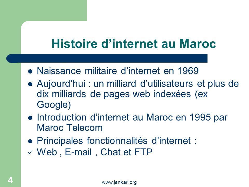 www.jankari.org 4 Histoire dinternet au Maroc Naissance militaire dinternet en 1969 Aujourdhui : un milliard dutilisateurs et plus de dix milliards de