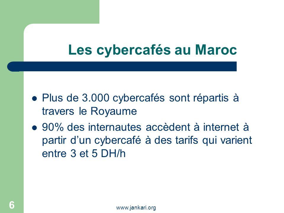 www.jankari.org 6 Les cybercafés au Maroc Plus de 3.000 cybercafés sont répartis à travers le Royaume 90% des internautes accèdent à internet à partir