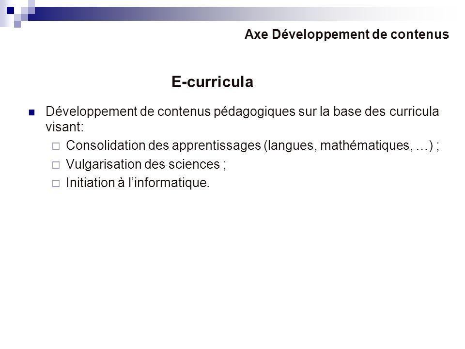 Développement de contenus pédagogiques sur la base des curricula visant: Consolidation des apprentissages (langues, mathématiques, …) ; Vulgarisation