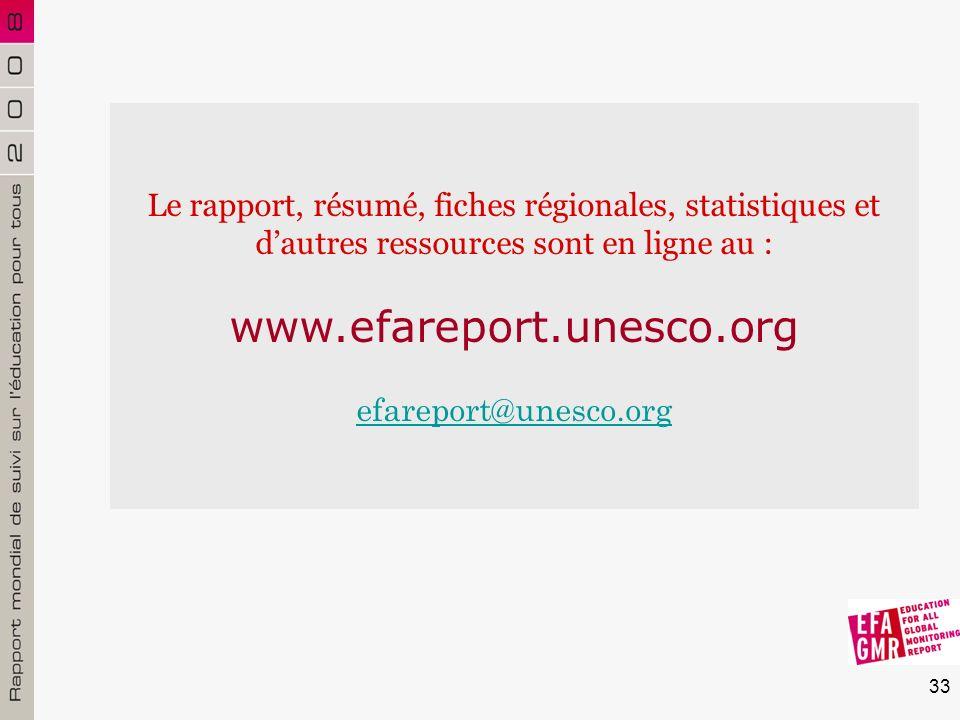 33 Le rapport, résumé, fiches régionales, statistiques et dautres ressources sont en ligne au : www.efareport.unesco.org efareport@unesco.org