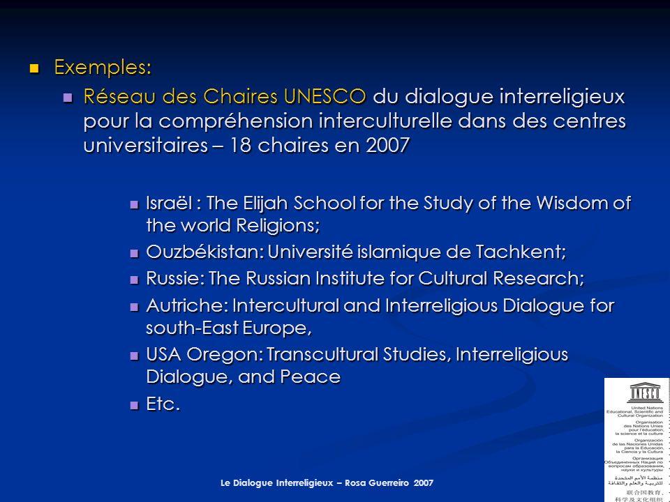 Le Dialogue Interreligieux – Rosa Guerreiro 2007 Exemples: Exemples: Réseau des Chaires UNESCO du dialogue interreligieux pour la compréhension interc