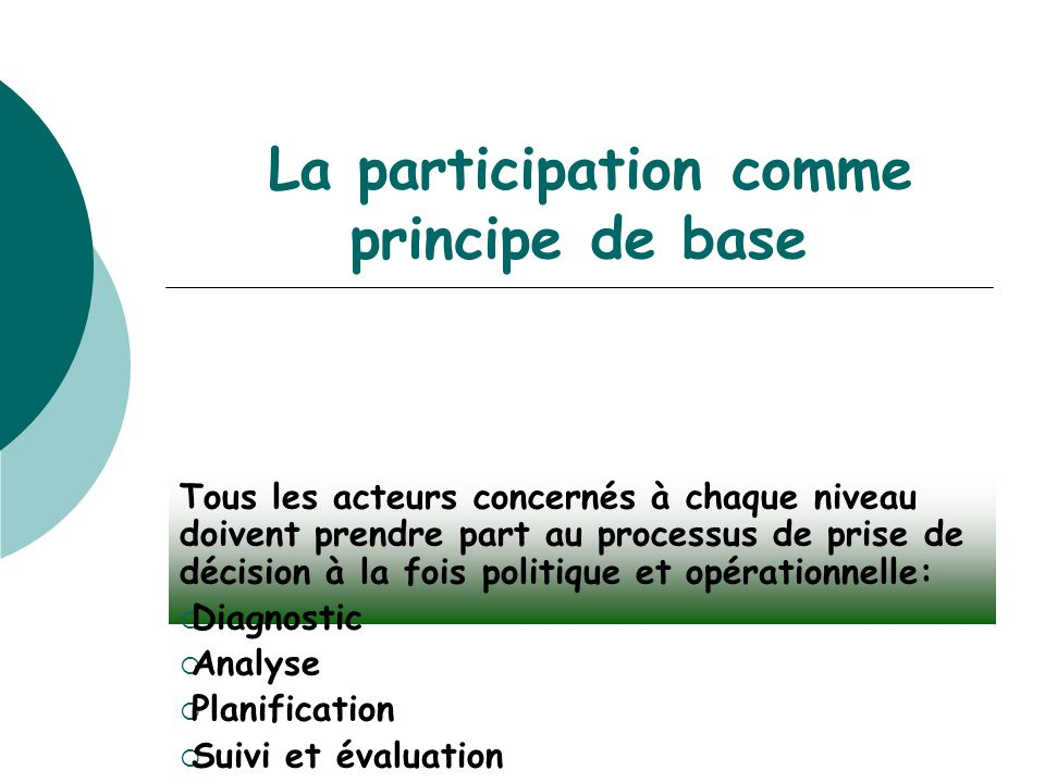 La participation comme principe de base Tous les acteurs concernés à chaque niveau doivent prendre part au processus de prise de décision à la fois politique et opérationnelle: Diagnostic Analyse Planification Suivi et évaluation