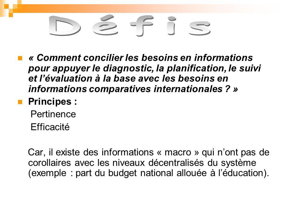 « Comment concilier les besoins en informations pour appuyer le diagnostic, la planification, le suivi et lévaluation à la base avec les besoins en informations comparatives internationales .