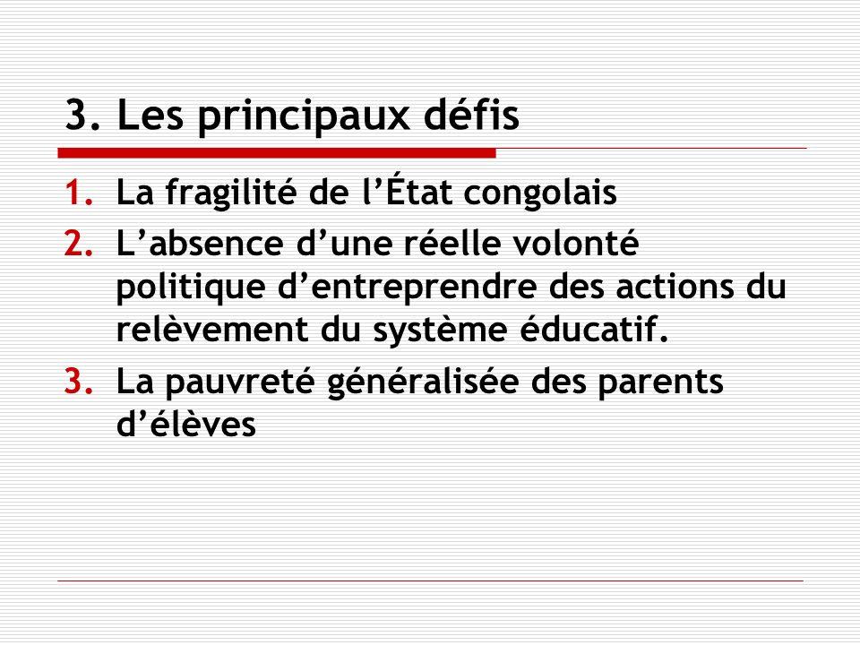 3. Les principaux défis 1.La fragilité de lÉtat congolais 2.Labsence dune réelle volonté politique dentreprendre des actions du relèvement du système