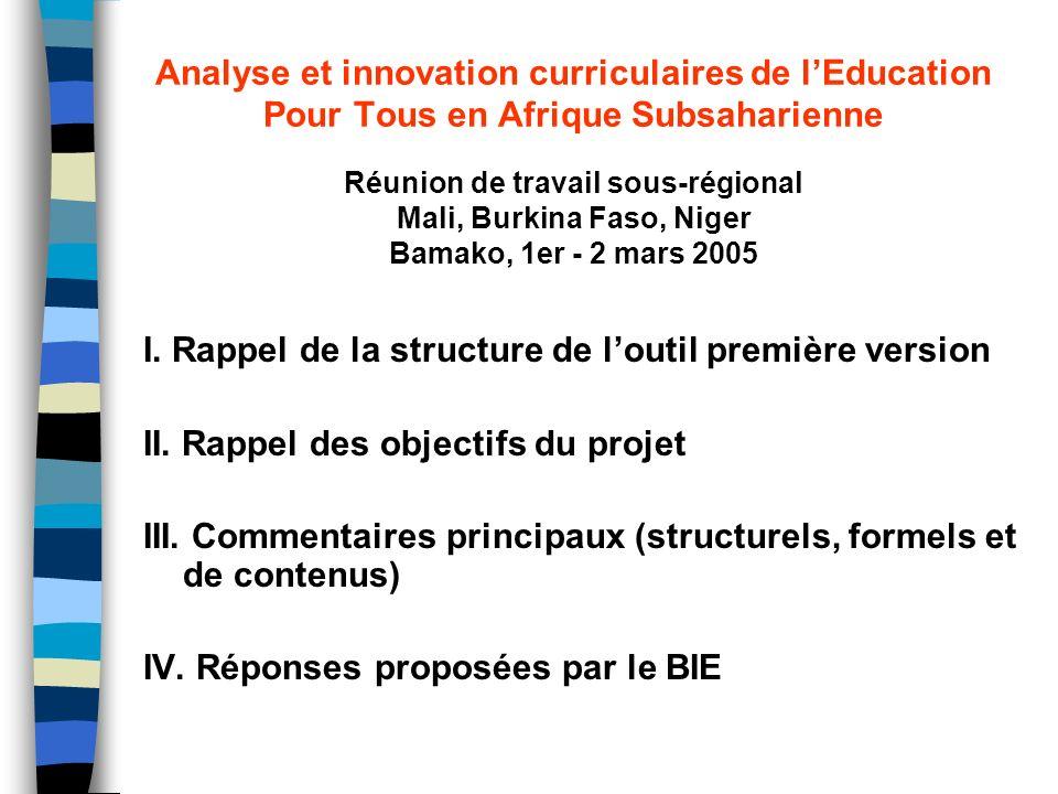 Analyse et innovation curriculaires de lEducation Pour Tous en Afrique Subsaharienne I. Rappel de la structure de loutil première version II. Rappel d