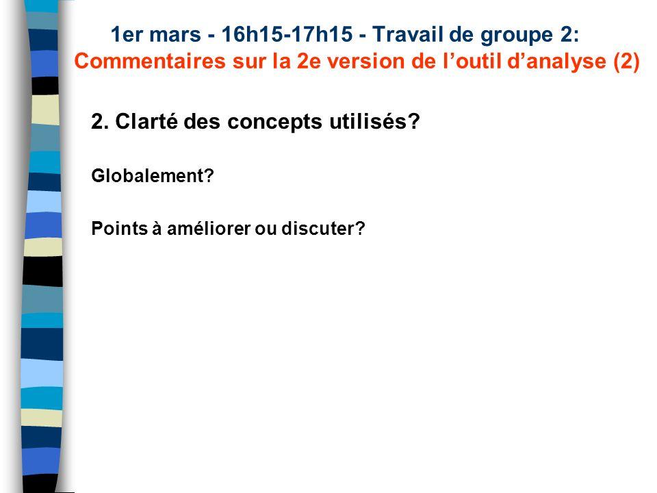 1er mars - 16h15-17h15 - Travail de groupe 2: Commentaires sur la 2e version de loutil danalyse (2) 2. Clarté des concepts utilisés? Globalement? Poin