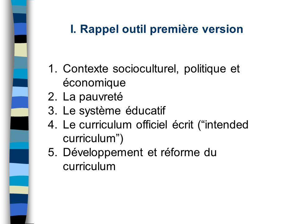 I. Rappel outil première version 1.Contexte socioculturel, politique et économique 2.La pauvreté 3.Le système éducatif 4.Le curriculum officiel écrit