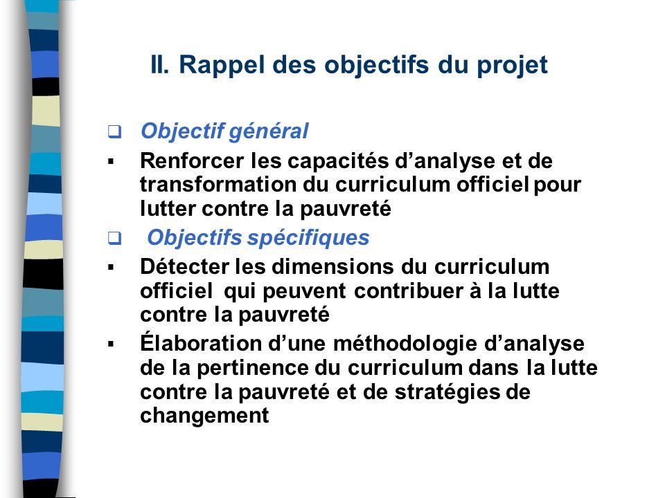 II. Rappel des objectifs du projet Objectif général Renforcer les capacités danalyse et de transformation du curriculum officiel pour lutter contre la
