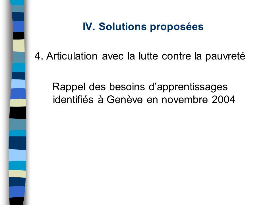 IV. Solutions proposées 4. Articulation avec la lutte contre la pauvreté Rappel des besoins dapprentissages identifiés à Genève en novembre 2004