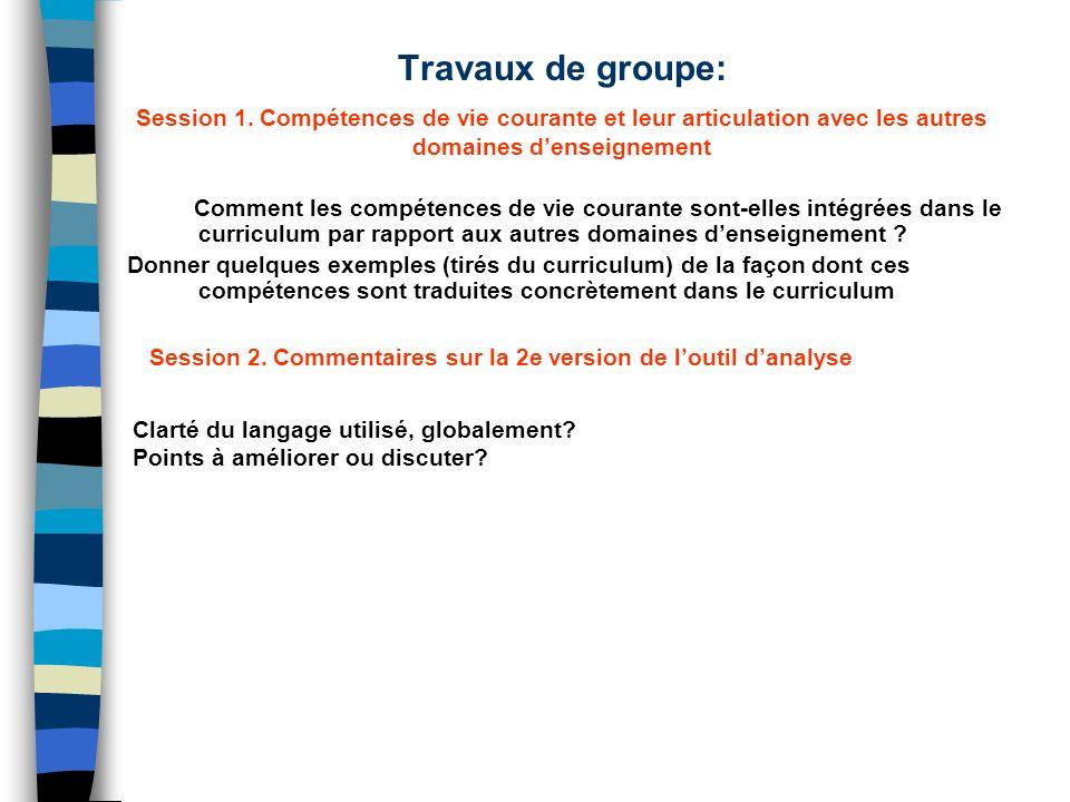 Travaux de groupe: Session 1. Compétences de vie courante et leur articulation avec les autres domaines denseignement Comment les compétences de vie c