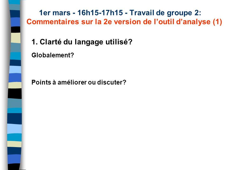 1er mars - 16h15-17h15 - Travail de groupe 2: Commentaires sur la 2e version de loutil danalyse (1) 1. Clarté du langage utilisé? Globalement? Points