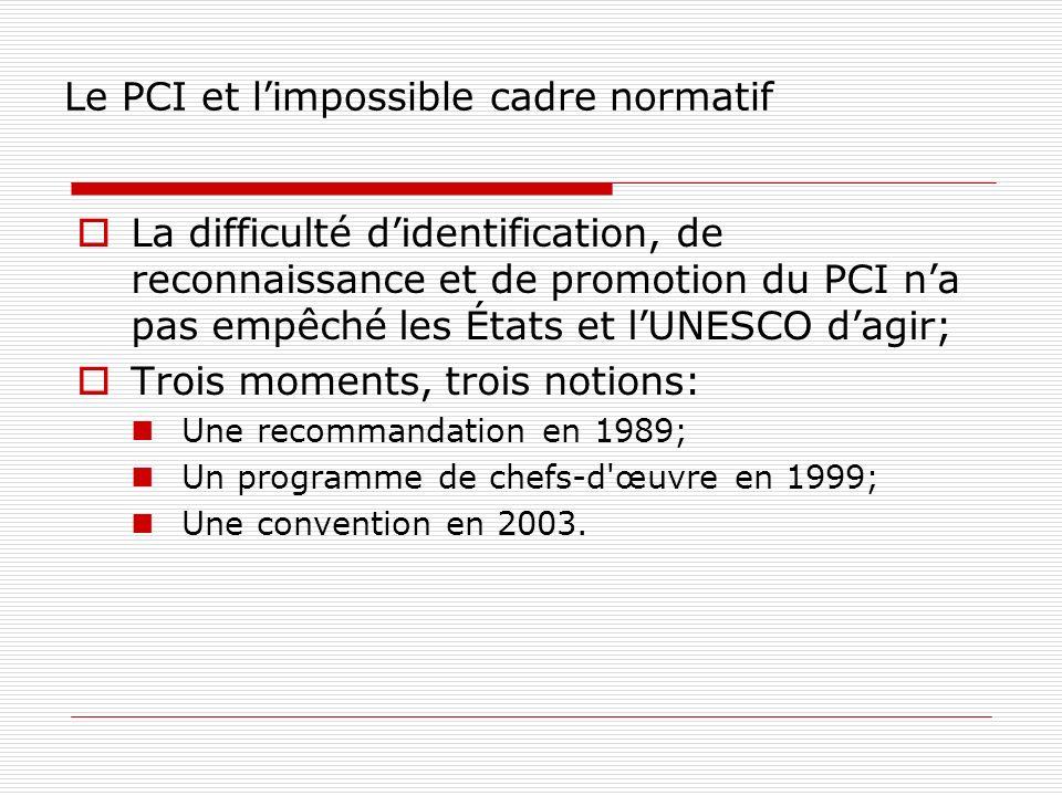 Le PCI et limpossible cadre normatif La difficulté didentification, de reconnaissance et de promotion du PCI na pas empêché les États et lUNESCO dagir