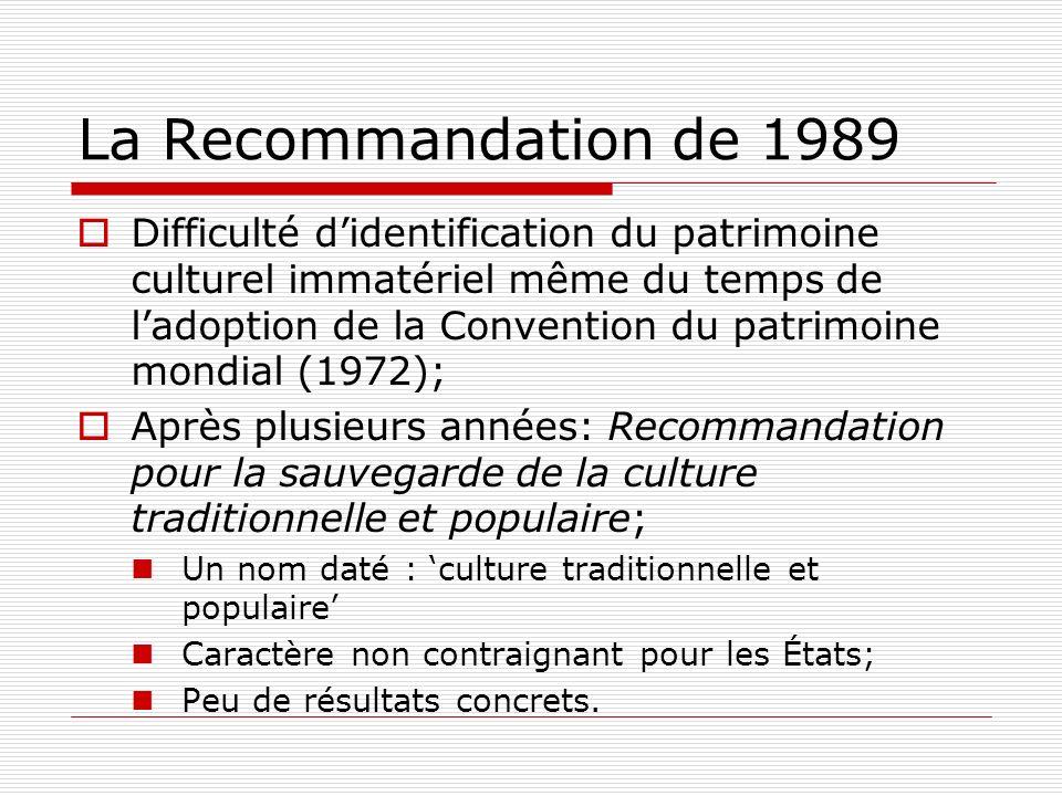 La Recommandation de 1989 Difficulté didentification du patrimoine culturel immatériel même du temps de ladoption de la Convention du patrimoine mondi