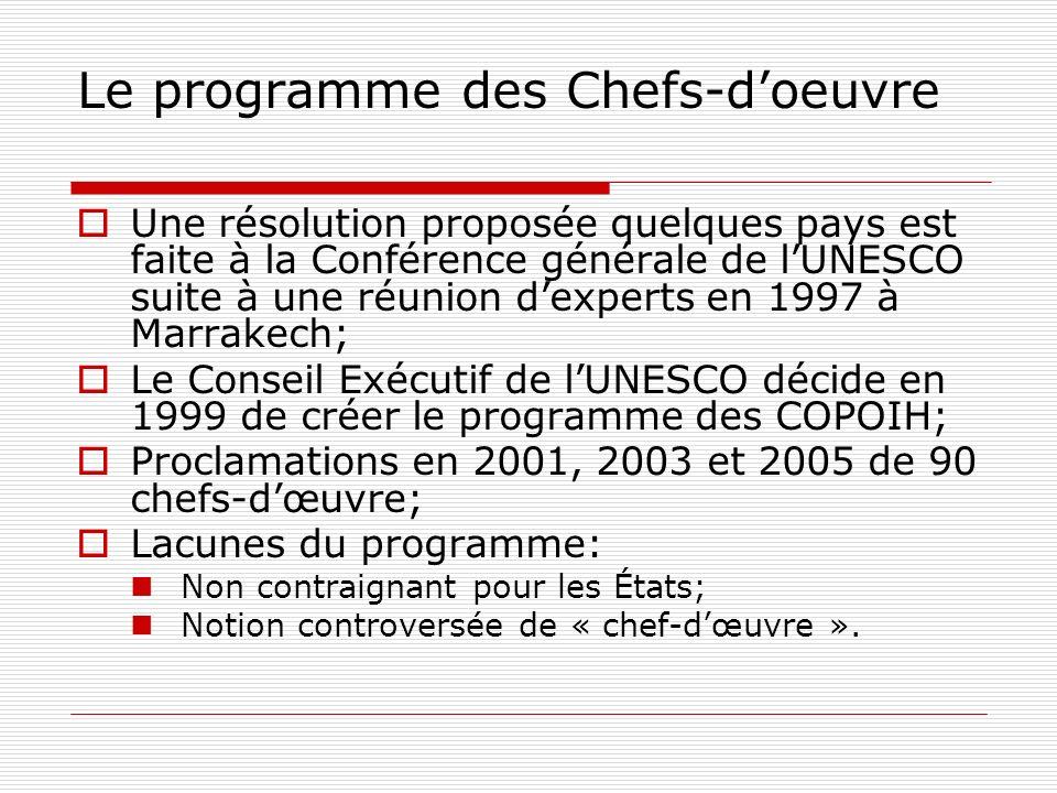 Le programme des Chefs-doeuvre Une résolution proposée quelques pays est faite à la Conférence générale de lUNESCO suite à une réunion dexperts en 199